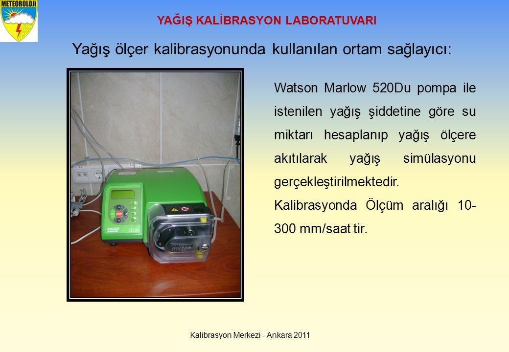 Kalibrasyon Merkezi - Ankara 2011 YAĞIŞ KALİBRASYON LABORATUVARI Yağış ölçer kalibrasyonunda kullanılan ortam sağlayıcı: Watson Marlow 520Du pompa ile