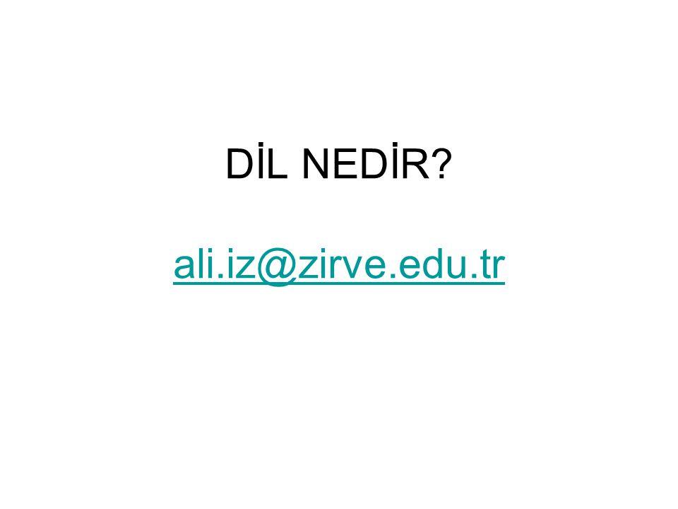 DİL NEDİR? ali.iz@zirve.edu.tr ali.iz@zirve.edu.tr