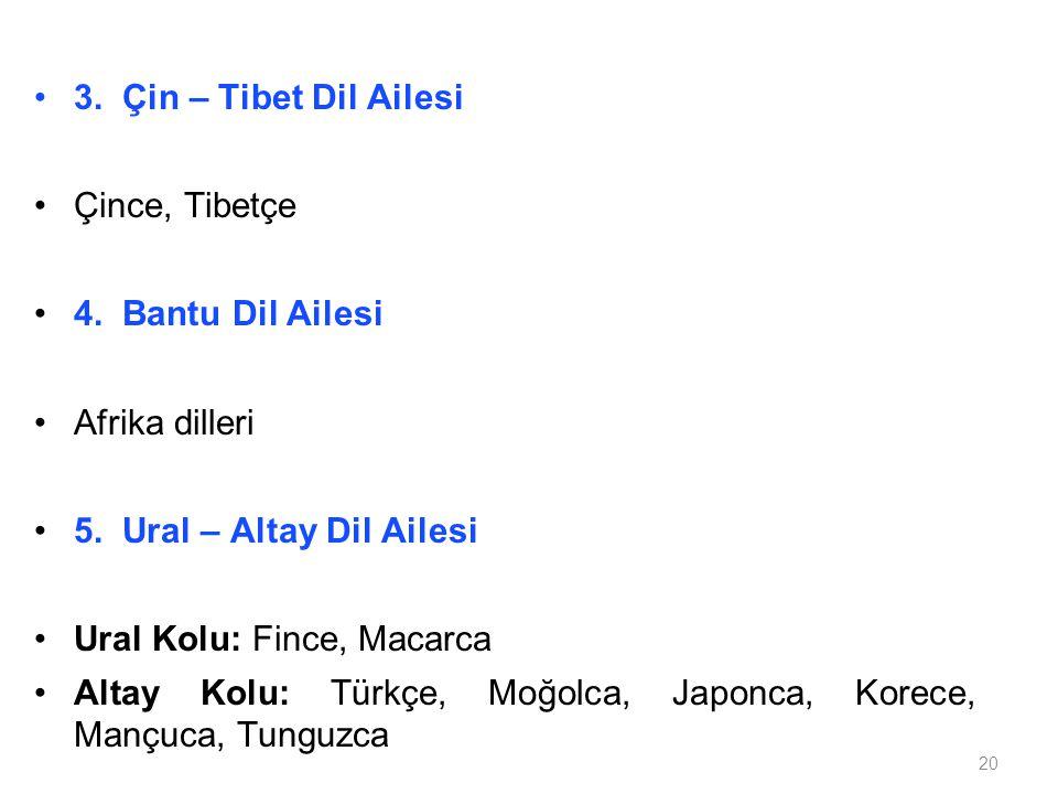 20 3. Çin – Tibet Dil Ailesi Çince, Tibetçe 4. Bantu Dil Ailesi Afrika dilleri 5. Ural – Altay Dil Ailesi Ural Kolu: Fince, Macarca Altay Kolu: Türkçe