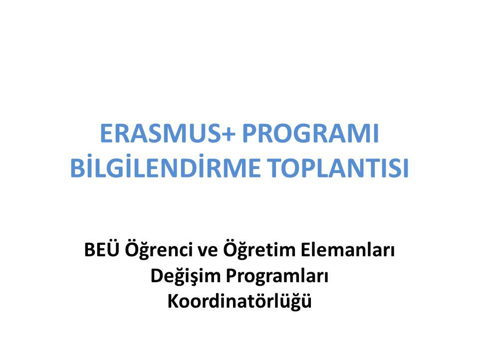 ERASMUS+ PROGRAMI BİLGİLENDİRME TOPLANTISI BEÜ Öğrenci ve Öğretim Elemanları Değişim Programları Koordinatörlüğü