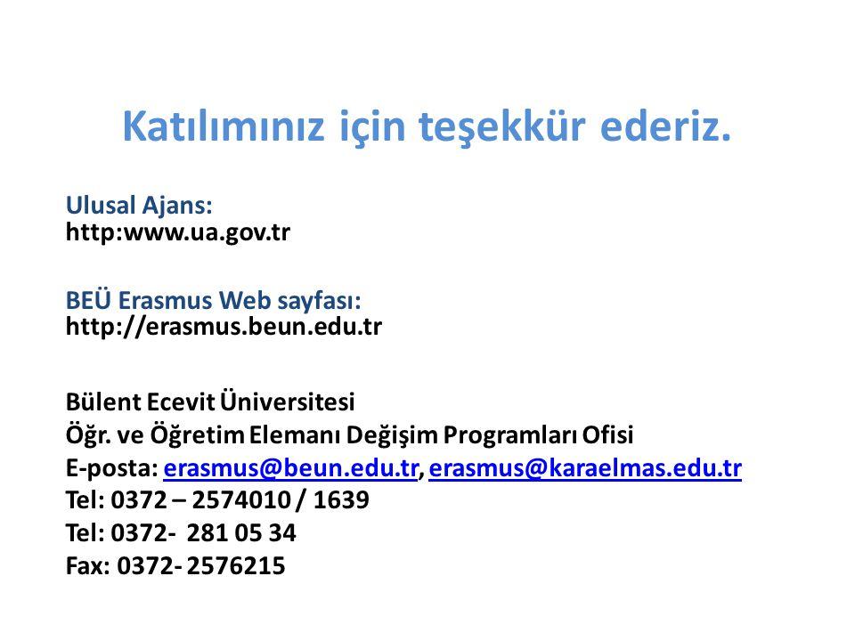 Katılımınız için teşekkür ederiz. Ulusal Ajans: http:www.ua.gov.tr BEÜ Erasmus Web sayfası: http://erasmus.beun.edu.tr Bülent Ecevit Üniversitesi Öğr.