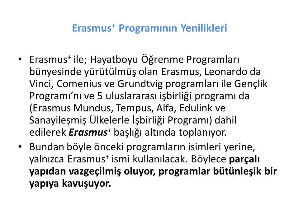 Erasmus + Programının Yenilikleri Erasmus + ile; Hayatboyu Öğrenme Programları bünyesinde yürütülmüş olan Erasmus, Leonardo da Vinci, Comenius ve Grun