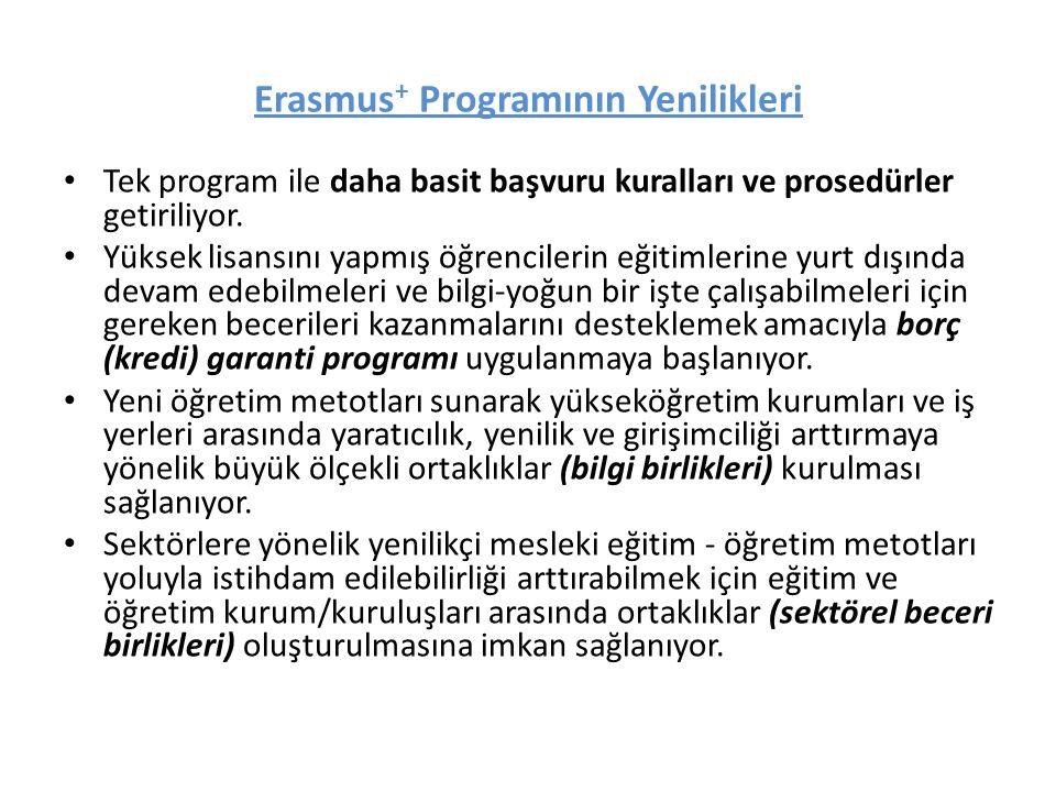 Erasmus + Programının Yenilikleri Tek program ile daha basit başvuru kuralları ve prosedürler getiriliyor. Yüksek lisansını yapmış öğrencilerin eğitim