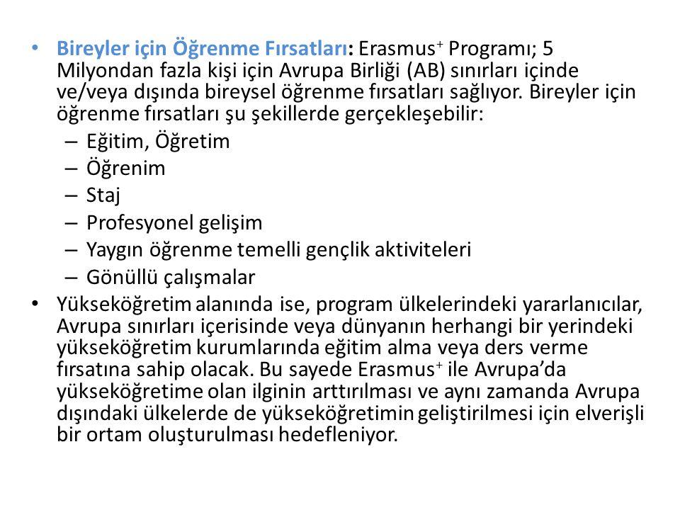 Bireyler için Öğrenme Fırsatları: Erasmus + Programı; 5 Milyondan fazla kişi için Avrupa Birliği (AB) sınırları içinde ve/veya dışında bireysel öğrenm