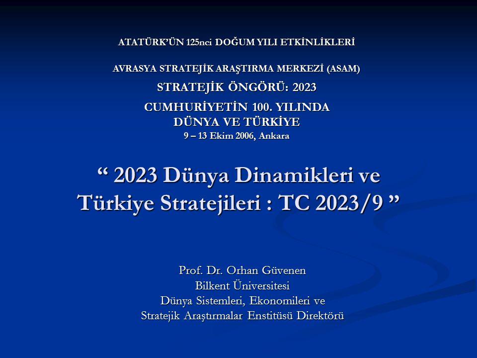 """"""" 2023 Dünya Dinamikleri ve Türkiye Stratejileri : TC 2023/9 """" Prof. Dr. Orhan Güvenen Bilkent Üniversitesi Dünya Sistemleri, Ekonomileri ve Stratejik"""