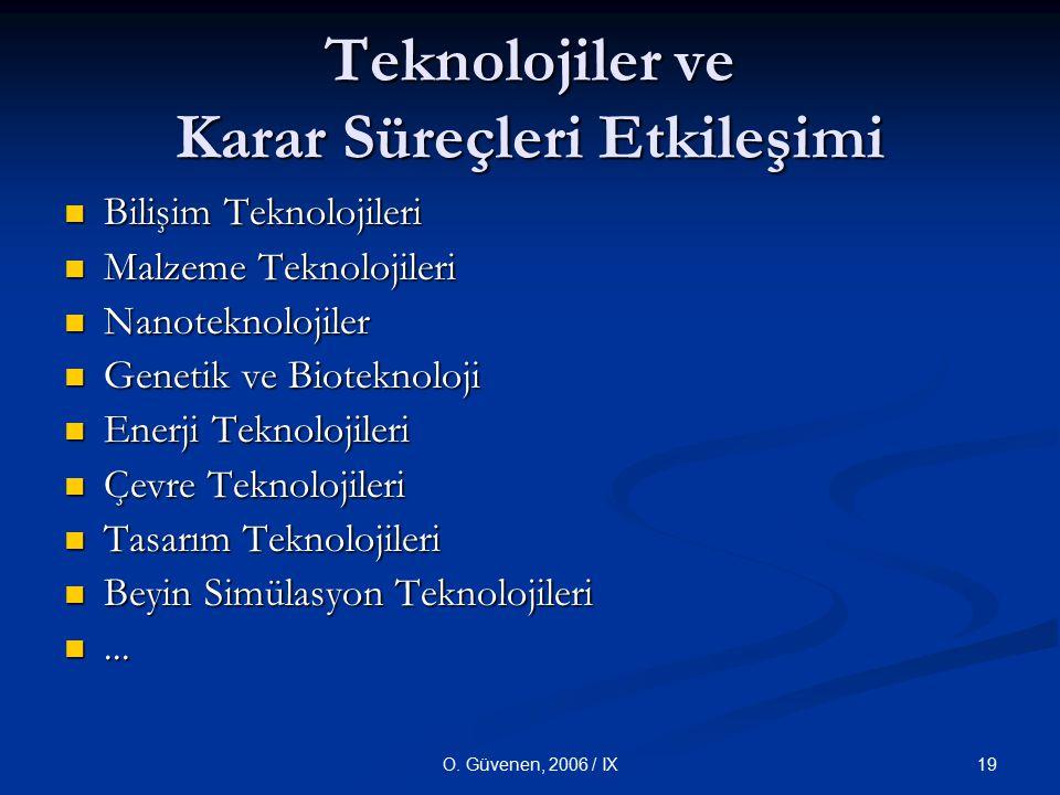 19O. Güvenen, 2006 / IX Teknolojiler ve Karar Süreçleri Etkileşimi Bilişim Teknolojileri Bilişim Teknolojileri Malzeme Teknolojileri Malzeme Teknoloji
