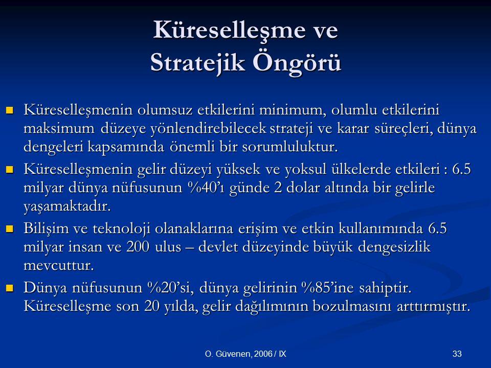 33O. Güvenen, 2006 / IX Küreselleşme ve Stratejik Öngörü Küreselleşmenin olumsuz etkilerini minimum, olumlu etkilerini maksimum düzeye yönlendirebilec