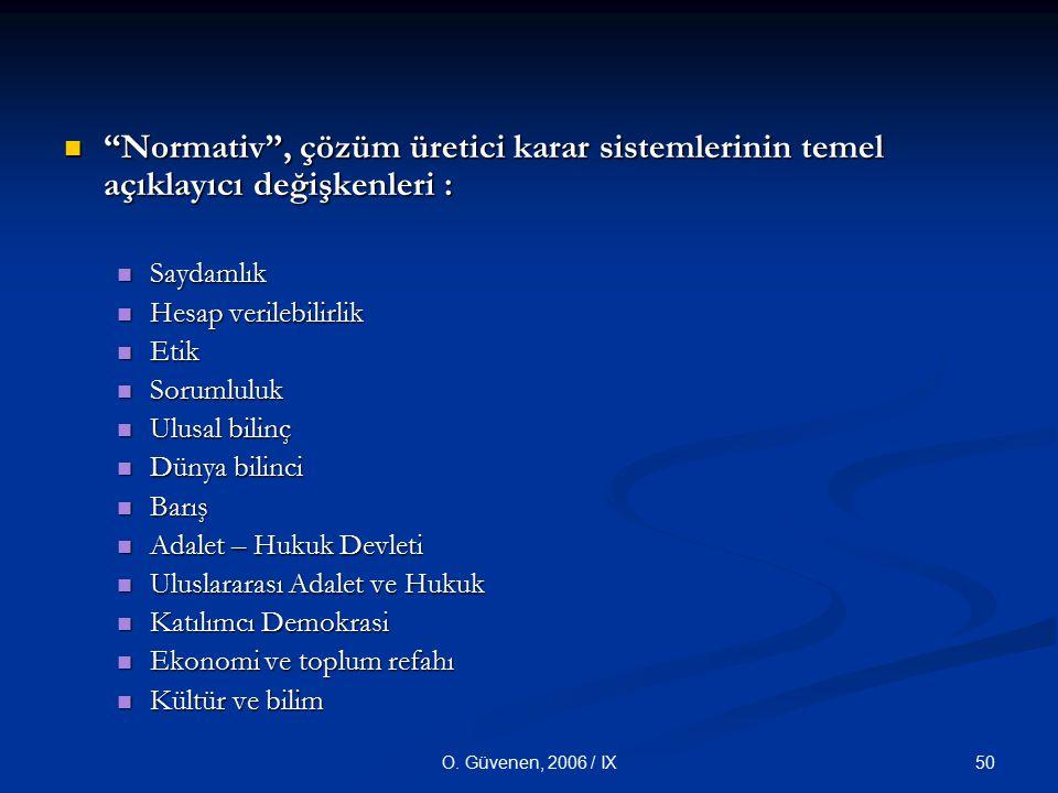 """50O. Güvenen, 2006 / IX """"Normativ"""", çözüm üretici karar sistemlerinin temel açıklayıcı değişkenleri : """"Normativ"""", çözüm üretici karar sistemlerinin te"""