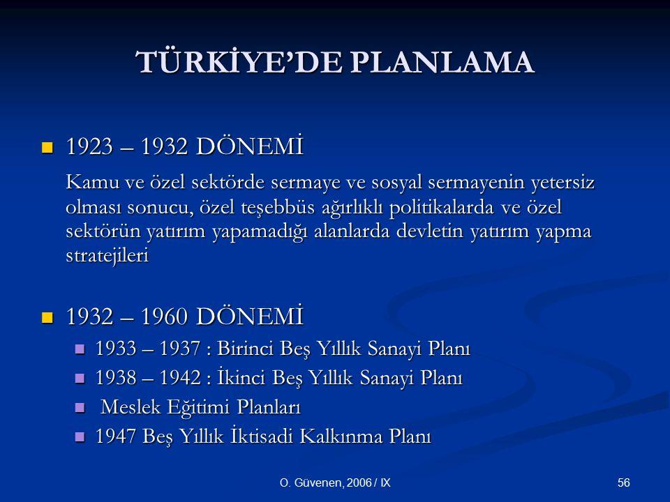 56O. Güvenen, 2006 / IX TÜRKİYE'DE PLANLAMA 1923 – 1932 DÖNEMİ 1923 – 1932 DÖNEMİ Kamu ve özel sektörde sermaye ve sosyal sermayenin yetersiz olması s