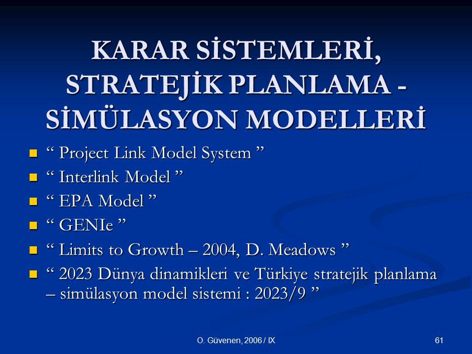 """61O. Güvenen, 2006 / IX KARAR SİSTEMLERİ, STRATEJİK PLANLAMA - SİMÜLASYON MODELLERİ """" Project Link Model System """" """" Project Link Model System """" """" Inte"""