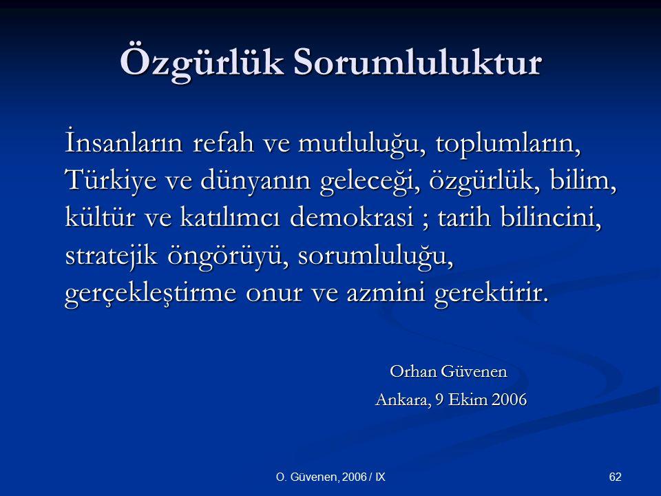 62O. Güvenen, 2006 / IX Özgürlük Sorumluluktur İnsanların refah ve mutluluğu, toplumların, Türkiye ve dünyanın geleceği, özgürlük, bilim, kültür ve ka