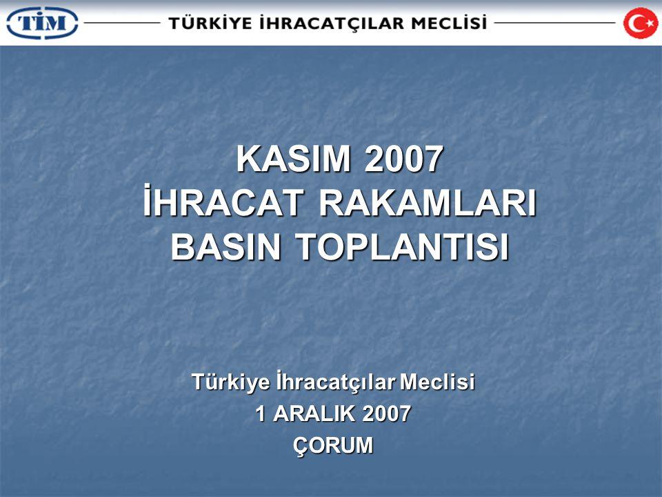 KASIM 2007 İHRACAT RAKAMLARI BASIN TOPLANTISI Türkiye İhracatçılar Meclisi 1 ARALIK 2007 ÇORUM