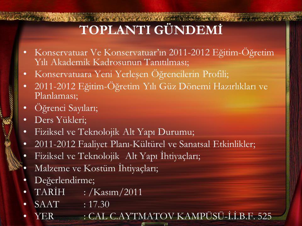 TOPLANTI GÜNDEMİ Konservatuar Ve Konservatuar'ın 2011-2012 Eğitim-Öğretim Yılı Akademik Kadrosunun Tanıtılması; Konservatuara Yeni Yerleşen Öğrenciler