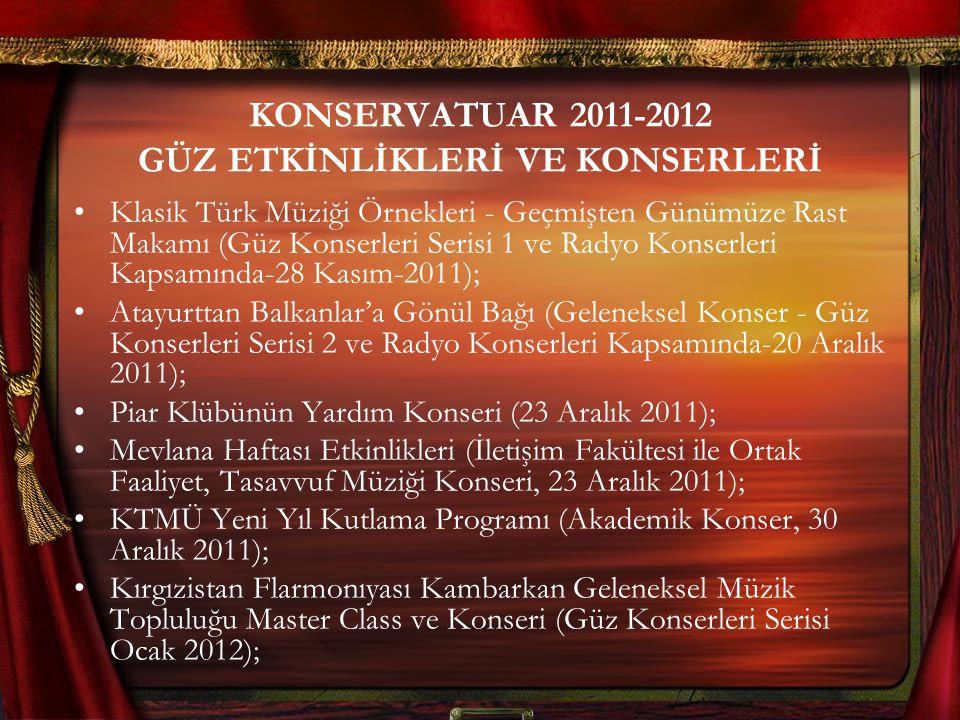 KONSERVATUAR 2011-2012 GÜZ ETKİNLİKLERİ VE KONSERLERİ Klasik Türk Müziği Örnekleri - Geçmişten Günümüze Rast Makamı (Güz Konserleri Serisi 1 ve Radyo Konserleri Kapsamında-28 Kasım-2011); Atayurttan Balkanlar'a Gönül Bağı (Geleneksel Konser - Güz Konserleri Serisi 2 ve Radyo Konserleri Kapsamında-20 Aralık 2011); Piar Klübünün Yardım Konseri (23 Aralık 2011); Mevlana Haftası Etkinlikleri (İletişim Fakültesi ile Ortak Faaliyet, Tasavvuf Müziği Konseri, 23 Aralık 2011); KTMÜ Yeni Yıl Kutlama Programı (Akademik Konser, 30 Aralık 2011); Kırgızistan Flarmonıyası Kambarkan Geleneksel Müzik Topluluğu Master Class ve Konseri (Güz Konserleri Serisi Ocak 2012);