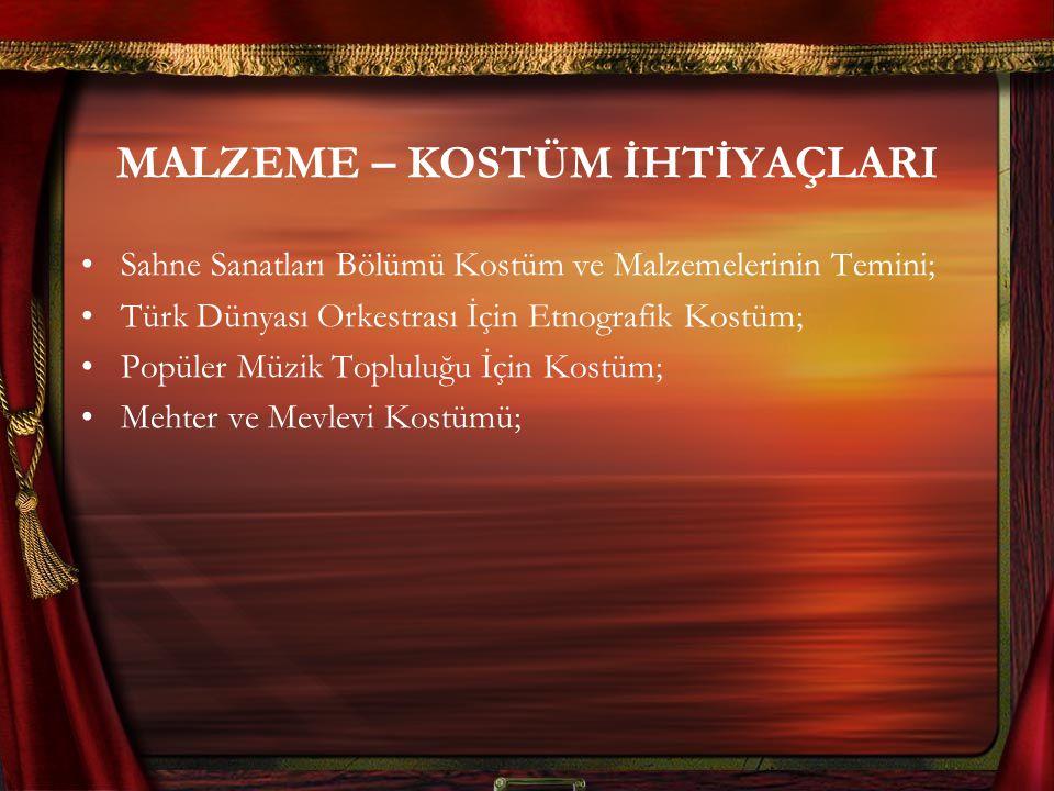 MALZEME – KOSTÜM İHTİYAÇLARI Sahne Sanatları Bölümü Kostüm ve Malzemelerinin Temini; Türk Dünyası Orkestrası İçin Etnografik Kostüm; Popüler Müzik Topluluğu İçin Kostüm; Mehter ve Mevlevi Kostümü;