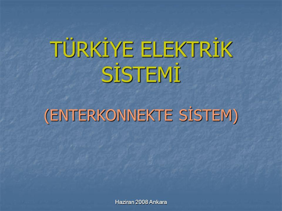 Haziran 2008 Ankara TÜRKİYE ELEKTRİK SİSTEMİ (ENTERKONNEKTE SİSTEM)