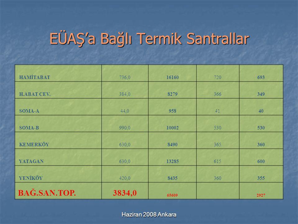 Haziran 2008 Ankara EÜAŞ'a Bağlı Termik Santrallar HAMİTABAT736,016160720693 H.ABAT CEV.384,08279366349 SOMA-A44,09584140 SOMA-B990,010002530 KEMERKÖY