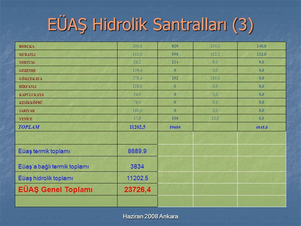 Haziran 2008 Ankara EÜAŞ Hidrolik Santralları (3) BORÇKA 300,6829154,0140,0 MURATLI 115,0598112,0 TORTUM 26,22149,0 GEZENDE 159,400,0 GÖKÇEKAYA 278,42