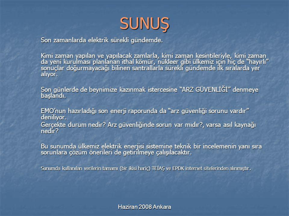 Haziran 2008 Ankara SUNUŞ Son zamanlarda elektrik sürekli gündemde. Kimi zaman yapılan ve yapılacak zamlarla, kimi zaman kesintileriyle, kimi zaman da