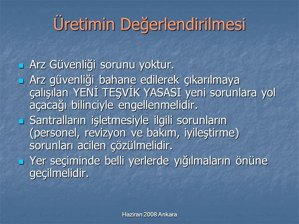 Haziran 2008 Ankara Üretimin Değerlendirilmesi Arz Güvenliği sorunu yoktur. Arz Güvenliği sorunu yoktur. Arz güvenliği bahane edilerek çıkarılmaya çal