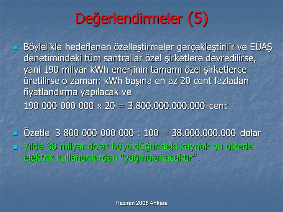 Haziran 2008 Ankara Değerlendirmeler (5) Böylelikle hedeflenen özelleştirmeler gerçekleştirilir ve EÜAŞ denetimindeki tüm santrallar özel şirketlere d