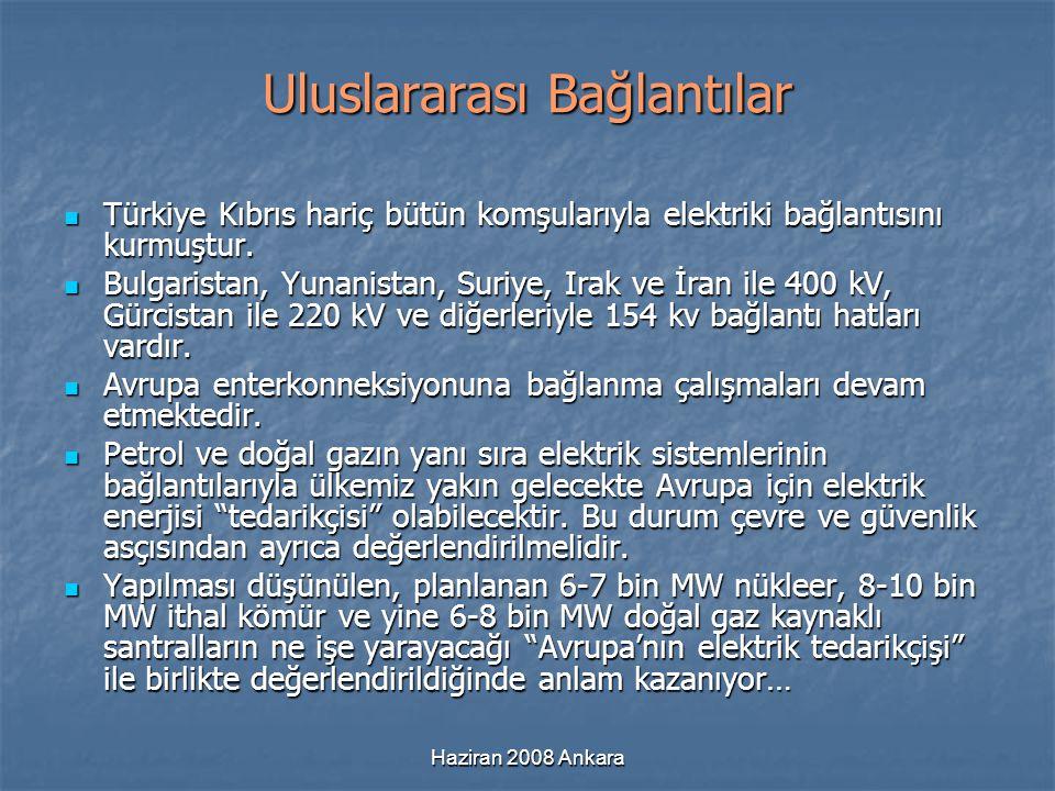Haziran 2008 Ankara Uluslararası Bağlantılar Türkiye Kıbrıs hariç bütün komşularıyla elektriki bağlantısını kurmuştur. Türkiye Kıbrıs hariç bütün komş