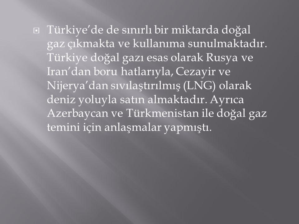  Türkiye'de de sınırlı bir miktarda doğal gaz çıkmakta ve kullanıma sunulmaktadır. Türkiye doğal gazı esas olarak Rusya ve Iran'dan boru hatlarıyla,