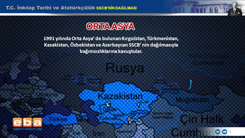 T.C. İnkılap Tarihi ve Atatürkçülük SSCB'NİN DAĞILMASI 4 1991 yılında Orta Asya' da bulunan Kırgızistan, Türkmenistan, Kazakistan, Özbekistan ve Azerb