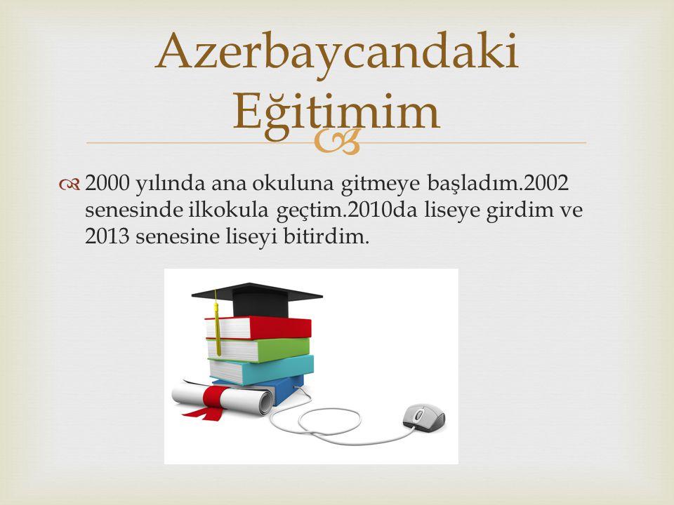   2000 yılında ana okuluna gitmeye başladım.2002 senesinde ilkokula geçtim.2010da liseye girdim ve 2013 senesine liseyi bitirdim. Azerbaycandaki Eği