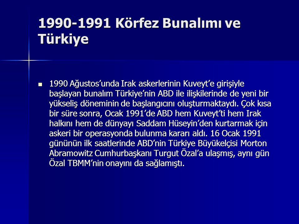 1990-1991 Körfez Bunalımı ve Türkiye 1990 Ağustos'unda Irak askerlerinin Kuveyt'e girişiyle başlayan bunalım Türkiye'nin ABD ile ilişkilerinde de yeni