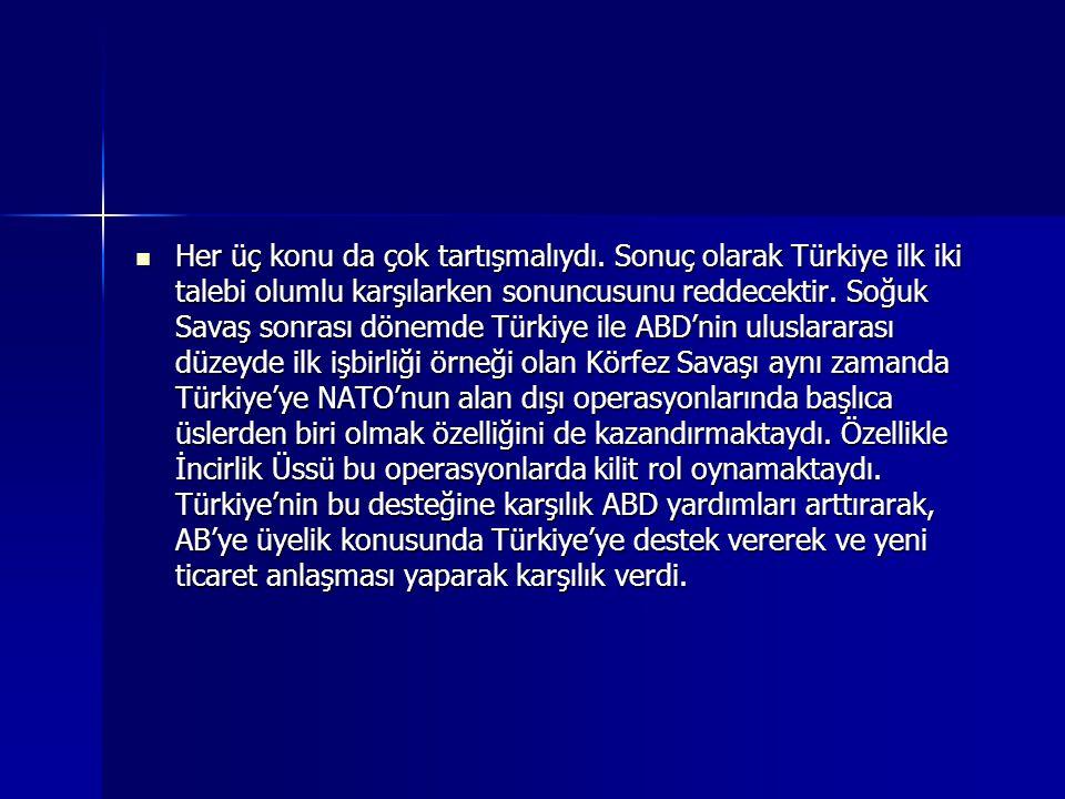 Her üç konu da çok tartışmalıydı. Sonuç olarak Türkiye ilk iki talebi olumlu karşılarken sonuncusunu reddecektir. Soğuk Savaş sonrası dönemde Türkiye