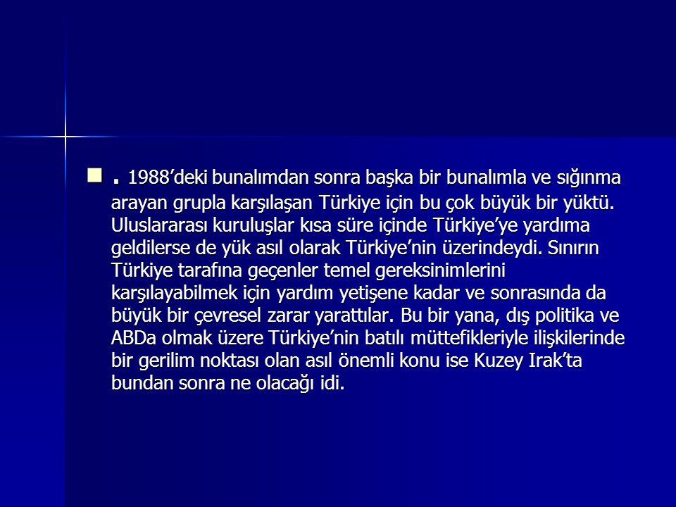 . 1988'deki bunalımdan sonra başka bir bunalımla ve sığınma arayan grupla karşılaşan Türkiye için bu çok büyük bir yüktü. Uluslararası kuruluşlar kısa