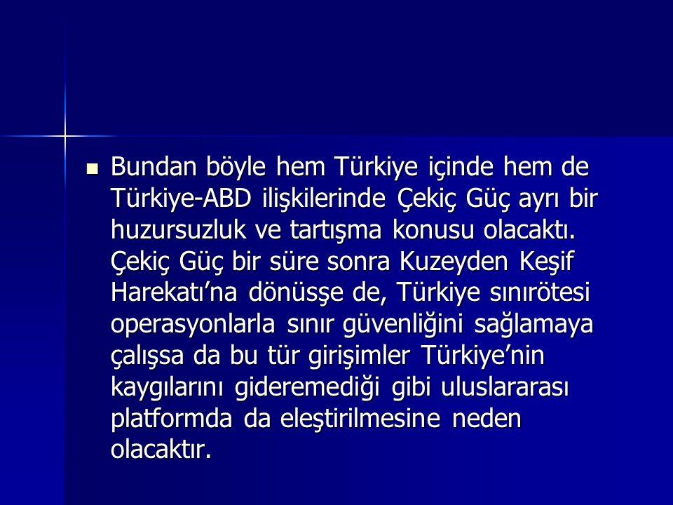 Bundan böyle hem Türkiye içinde hem de Türkiye-ABD ilişkilerinde Çekiç Güç ayrı bir huzursuzluk ve tartışma konusu olacaktı. Çekiç Güç bir süre sonra