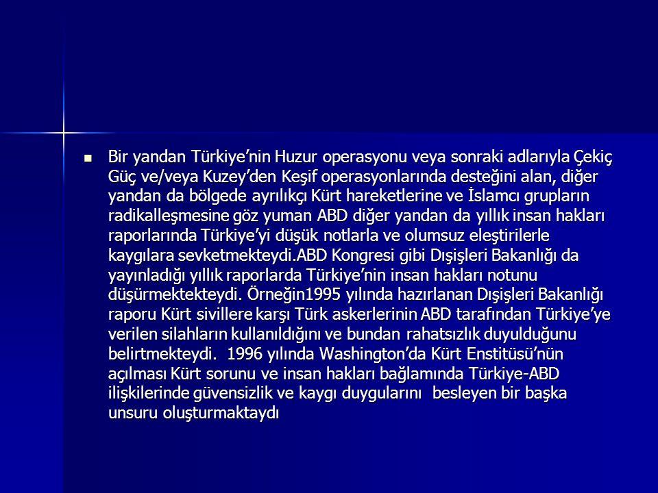 Bir yandan Türkiye'nin Huzur operasyonu veya sonraki adlarıyla Çekiç Güç ve/veya Kuzey'den Keşif operasyonlarında desteğini alan, diğer yandan da bölg