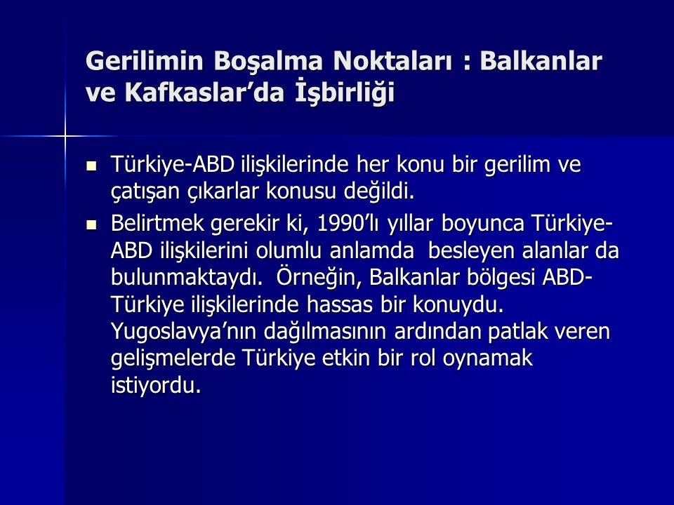 Gerilimin Boşalma Noktaları : Balkanlar ve Kafkaslar'da İşbirliği Türkiye-ABD ilişkilerinde her konu bir gerilim ve çatışan çıkarlar konusu değildi. T