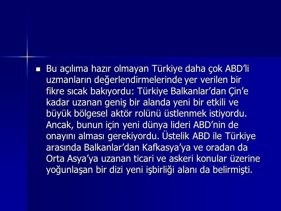 Bu açılıma hazır olmayan Türkiye daha çok ABD'li uzmanların değerlendirmelerinde yer verilen bir fikre sıcak bakıyordu: Türkiye Balkanlar'dan Çin'e ka