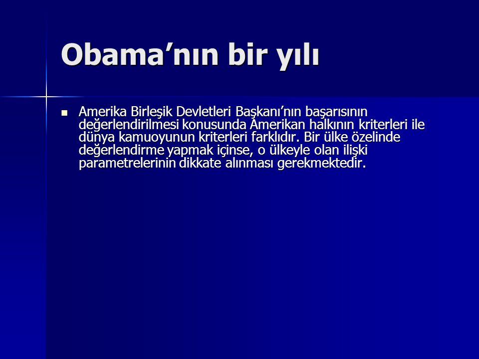 Obama'nın bir yılı Amerika Birleşik Devletleri Başkanı'nın başarısının değerlendirilmesi konusunda Amerikan halkının kriterleri ile dünya kamuoyunun k