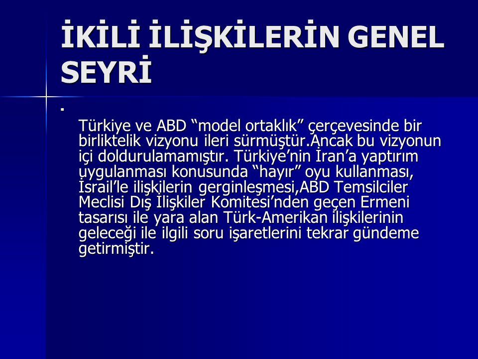 """İKİLİ İLİŞKİLERİN GENEL SEYRİ Türkiye ve ABD """"model ortaklık"""" çerçevesinde bir birliktelik vizyonu ileri sürmüştür.Ancak bu vizyonun içi doldurulamamı"""