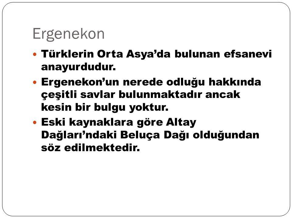 Ergenekon Türklerin Orta Asya'da bulunan efsanevi anayurdudur. Ergenekon'un nerede odluğu hakkında çeşitli savlar bulunmaktadır ancak kesin bir bulgu