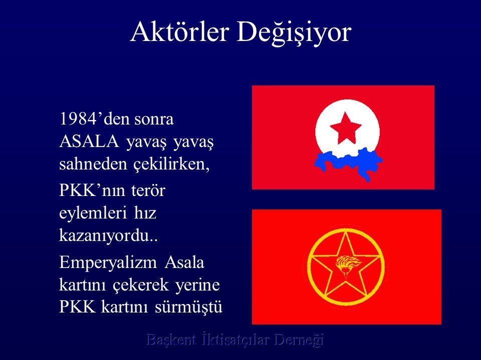 Aktörler Değişiyor 1984'den sonra ASALA yavaş yavaş sahneden çekilirken, PKK'nın terör eylemleri hız kazanıyordu.. Emperyalizm Asala kartını çekerek y