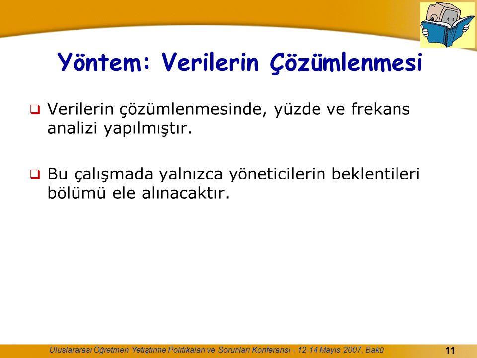 Uluslararası Öğretmen Yetiştirme Politikaları ve Sorunları Konferansı - 12-14 Mayıs 2007, Bakü 11 Yöntem: Verilerin Çözümlenmesi  Verilerin çözümlenm