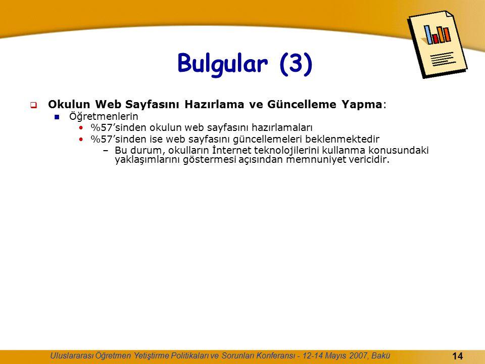 Uluslararası Öğretmen Yetiştirme Politikaları ve Sorunları Konferansı - 12-14 Mayıs 2007, Bakü 14 Bulgular (3)  Okulun Web Sayfasını Hazırlama ve Gün