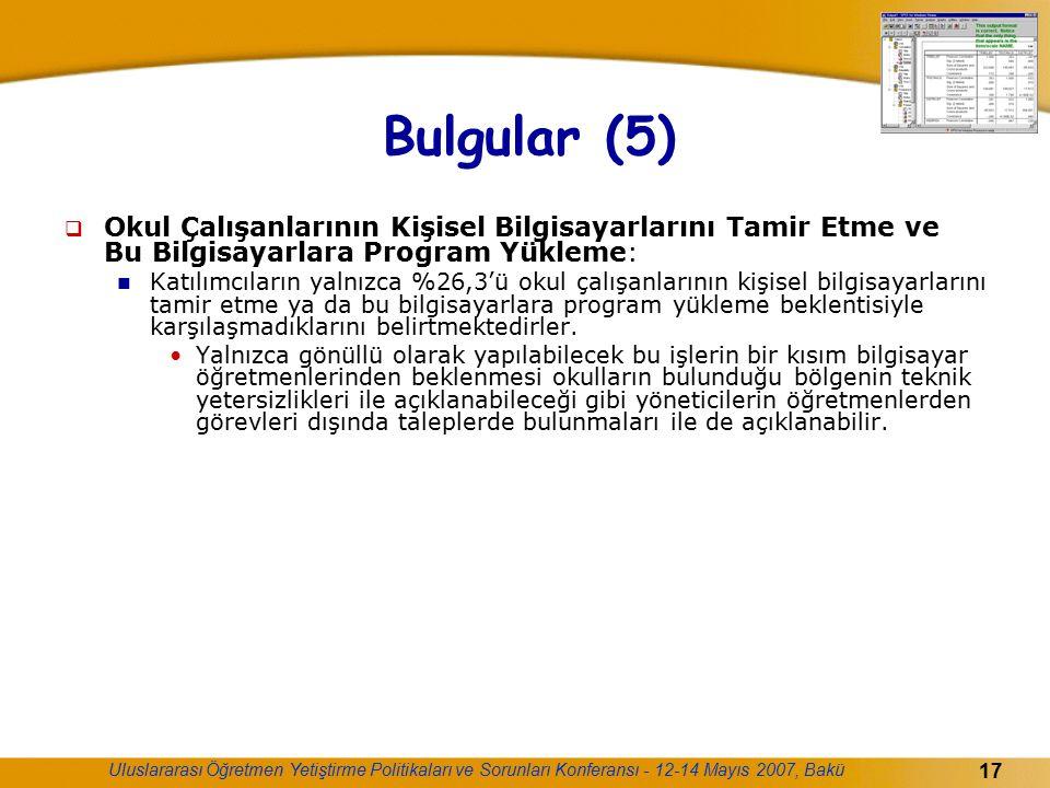 Uluslararası Öğretmen Yetiştirme Politikaları ve Sorunları Konferansı - 12-14 Mayıs 2007, Bakü 17 Bulgular (5)  Okul Çalışanlarının Kişisel Bilgisaya