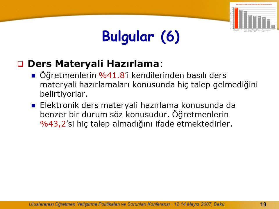 Uluslararası Öğretmen Yetiştirme Politikaları ve Sorunları Konferansı - 12-14 Mayıs 2007, Bakü 19 Bulgular (6)  Ders Materyali Hazırlama: Öğretmenler