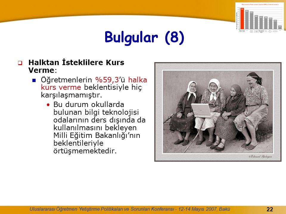 Uluslararası Öğretmen Yetiştirme Politikaları ve Sorunları Konferansı - 12-14 Mayıs 2007, Bakü 22 Bulgular (8)  Halktan İsteklilere Kurs Verme: Öğret