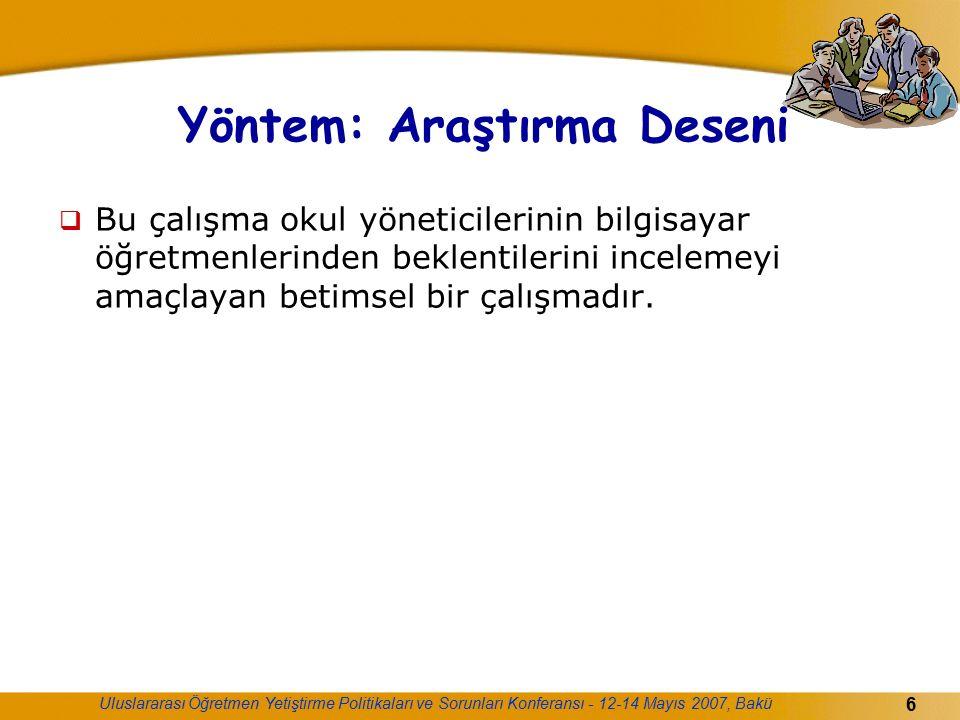 Uluslararası Öğretmen Yetiştirme Politikaları ve Sorunları Konferansı - 12-14 Mayıs 2007, Bakü 6 Yöntem: Araştırma Deseni  Bu çalışma okul yöneticile