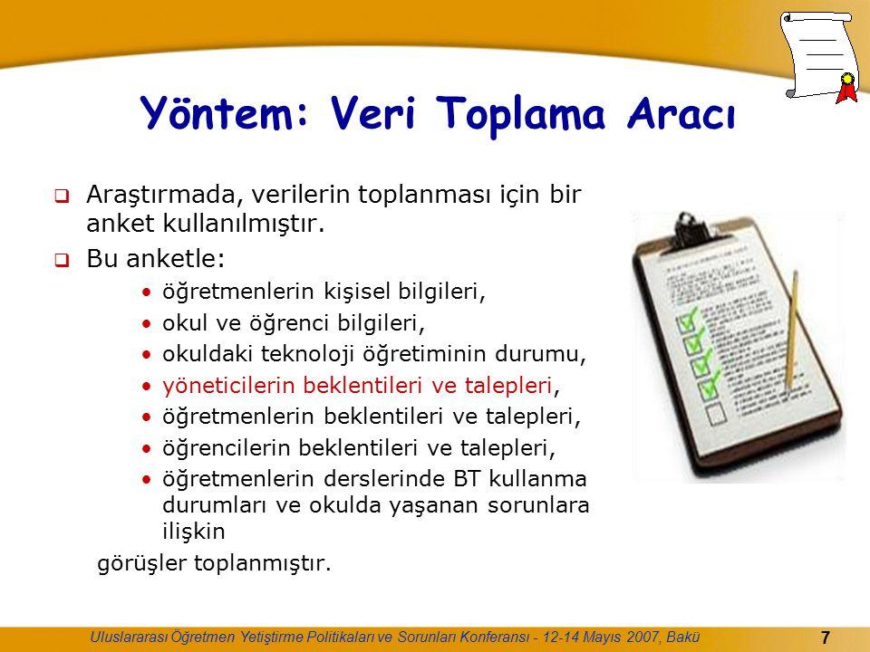 Uluslararası Öğretmen Yetiştirme Politikaları ve Sorunları Konferansı - 12-14 Mayıs 2007, Bakü 7 Yöntem: Veri Toplama Aracı  Araştırmada, verilerin t