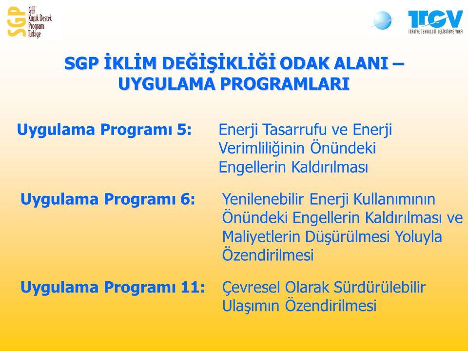 SGP İKLİM DEĞİŞİKLİĞİ ODAK ALANI – UYGULAMA PROGRAMLARI Uygulama Programı 5: Enerji Tasarrufu ve Enerji Verimliliğinin Önündeki Engellerin Kaldırılması Uygulama Programı 6: Yenilenebilir Enerji Kullanımının Önündeki Engellerin Kaldırılması ve Maliyetlerin Düşürülmesi Yoluyla Özendirilmesi Uygulama Programı 11:Çevresel Olarak Sürdürülebilir Ulaşımın Özendirilmesi