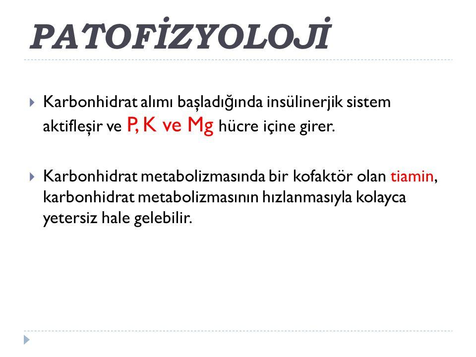  Karbonhidrat alımı başladı ğ ında insülinerjik sistem aktifleşir ve P, K ve Mg hücre içine girer.