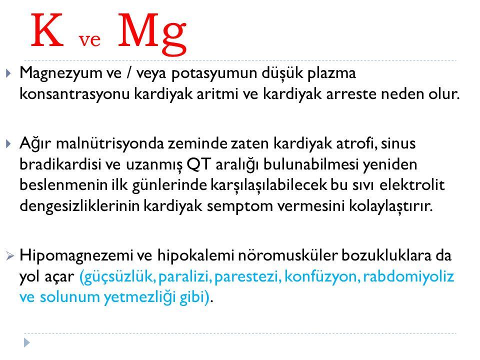  Magnezyum ve / veya potasyumun düşük plazma konsantrasyonu kardiyak aritmi ve kardiyak arreste neden olur.